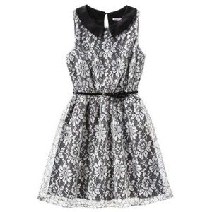Peter Pan collar White Black lace dress